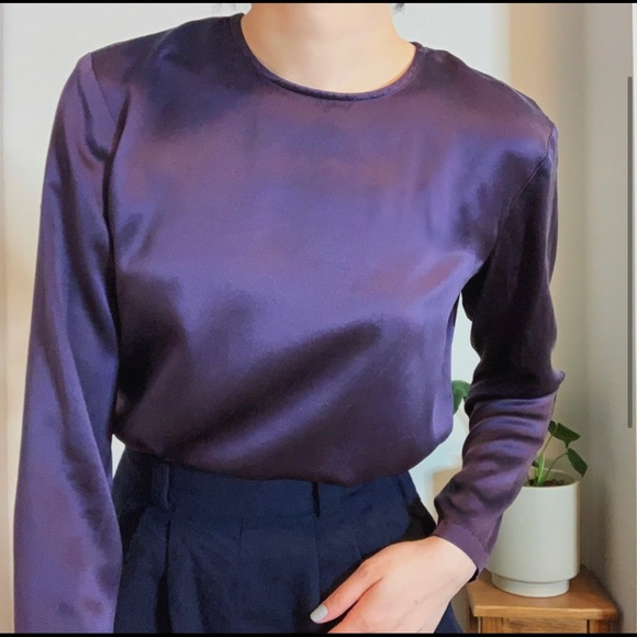 Dark purple 100% silk blouse